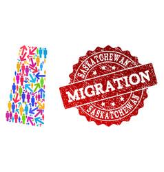 Migration collage of mosaic map of saskatchewan vector