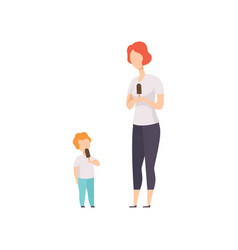 mother and her little son eating popsicles people vector image