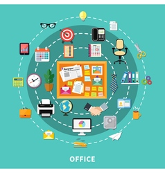 Office Decorative Icons Set In Circle Order vector image