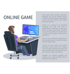 Online gaming poster with man playing cyber games vector