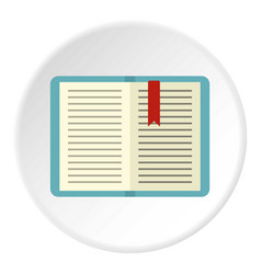 Open tutorial with bookmark icon circle vector