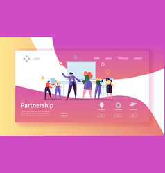 partnership collaboration landing page template vector image