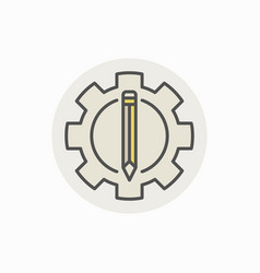 pencil and gear icon vector image