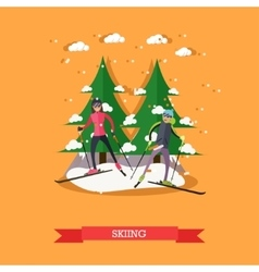 people skiing in flat vector image