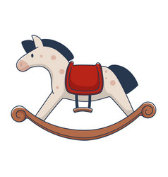 Plush pony or horse with wooden base for rocking vector