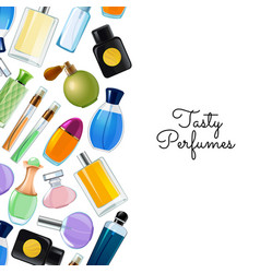 Poster with perfume bottles background vector