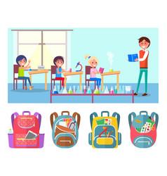 Pupils at school lesson teacher chemistry flasks vector