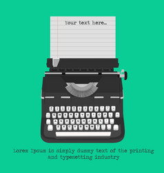 Retro typewriter with blank paper vector