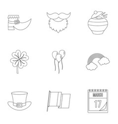 Saint patrick day icon set outline style vector