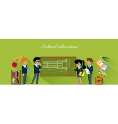 School Education Flat Design Concept vector image