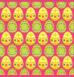 Seamless pattern of yellow and green tilted easter vector