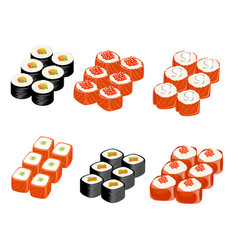 set of different rolls vector image