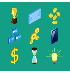 Set of nine isometric icons vector image