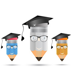 set of pencils with glasses vector image