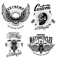 set racer emblem templates with motorcycle vector image