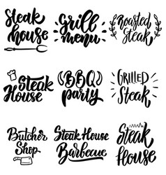 set steak house grill menu bbq party lettering vector image