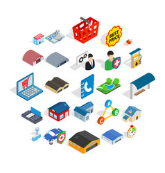 shed icons set isometric style vector image