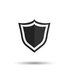 Shield protection icon in flat style with shadow vector