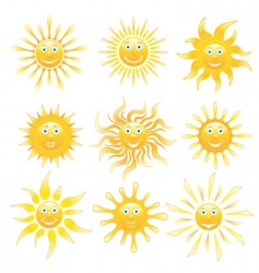 Smiling shiny suns set vector