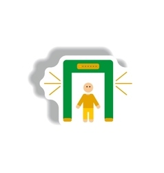 Stylish icon in paper sticker style people scanner vector