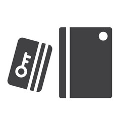 Swipe card reader with keypad solid icon vector