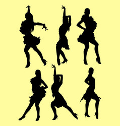 Tango salsa dancer silhouette vector