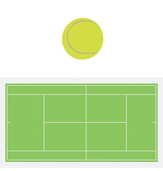 Tennis ball and court vector image