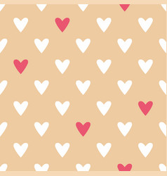 Tile pattern with white and red hearts on pink vector