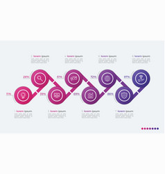 Timeline infographic design with ellipses 8 steps vector
