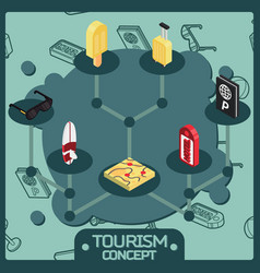 tourism color isometric concept icons vector image