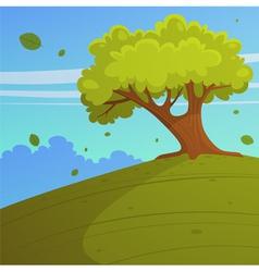 Tree on hill vector