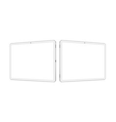 Two white tablet computers mockups vector