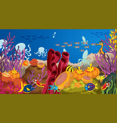 Underwater scene with sea animals and tropical vector