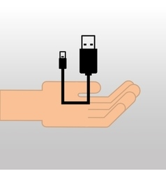 USB icon connetion plug cable design vector
