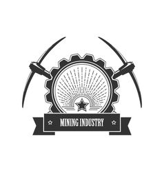 Vintage emblem of the mining industry vector image