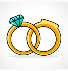 wedding rings icon design vector image