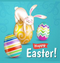 white cheerful easter bunny vector image
