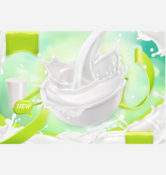 White cream splash yoghurt sour cream sauce 3d vector