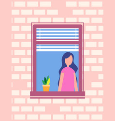 woman standing near open window flower pot vector image