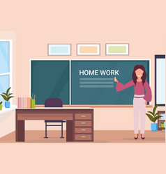 Woman teacher writing home work at chalk board vector