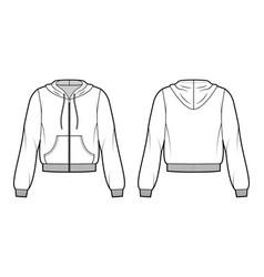 zip-up cotton-fleece hoodie technical fashion vector image