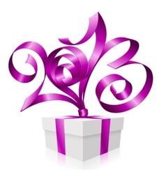 2013 ribbon gift box vector image vector image