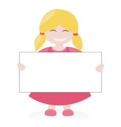 Blond girl holding white empty banner vector image