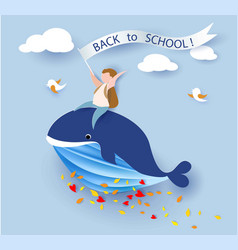 Card with boy sitting on whale flying on blue sky vector