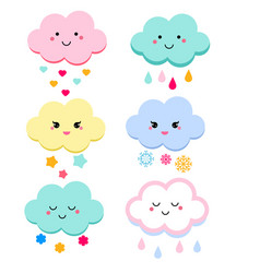cute clouds for kids isolated vector image vector image