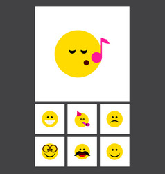 flat icon expression set of sad grin party time vector image vector image