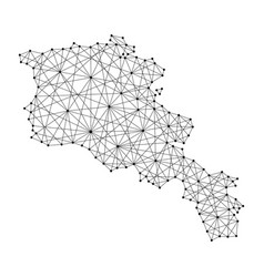 map of armenia from polygonal black lines and dots vector image vector image