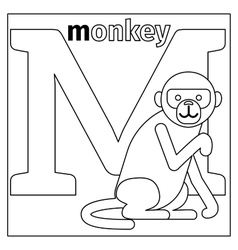Monkey letter M coloring page vector image