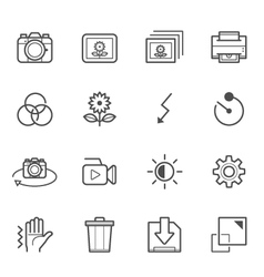 Photography and Camera Function icons vector image vector image