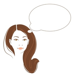 portrait of beautiful thinking asian woman vector image